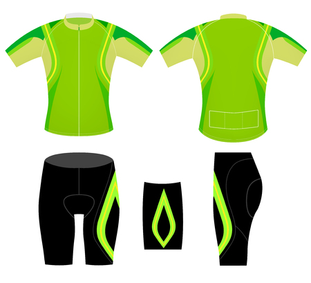 Green cycling vest design style vector on a white background Illustration