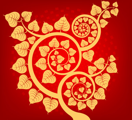 Bodhi tree Asian culture on a red vector abstract background