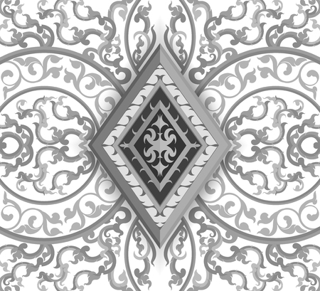 Thai style: Gray color art pattern Thai style vector abstract background