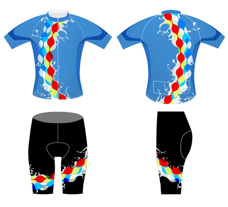 Splashy sports t-shirt cycling vest design on a white background Illustration