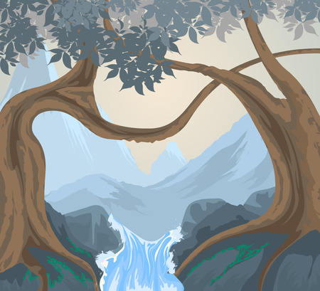 cascade mountains: Trees scene vector nature and landscape background