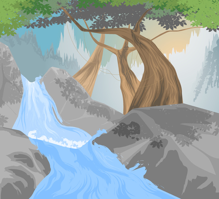 waterfall river: River,waterfall scene vector nature landscape background