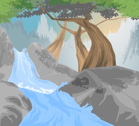 creek: River,waterfall scene vector nature landscape background