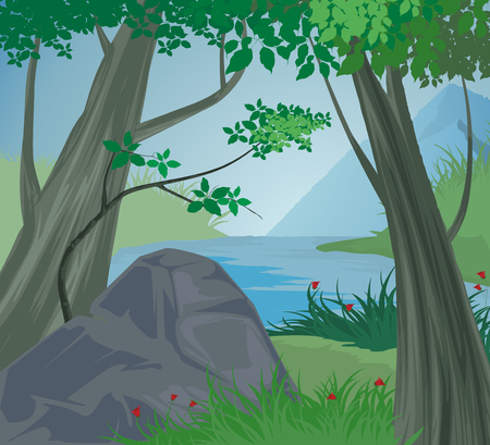 creek: Trees scene vector and mountain river nature landscape background