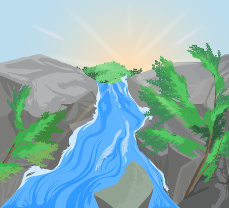 mountain scene: Waterfall and mountain scene vector nature landscape background Illustration