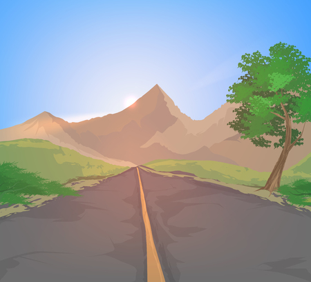 country road: Country road and mountain sunset sky vector nature landscape background