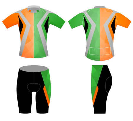 Low poly colors sports t-shirt,cycling vest vector design on a white background Illustration