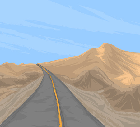 rural road: Rural scenery and country road mountain landscape background Illustration