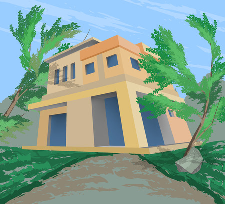 architectural styles: New house and nature scene vector design architecture style background Illustration