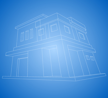 new house: New house modern style wireframe vector on a blue background Illustration
