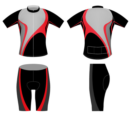 sportswear: Black red cyclist,cycling vest design on a white background Illustration