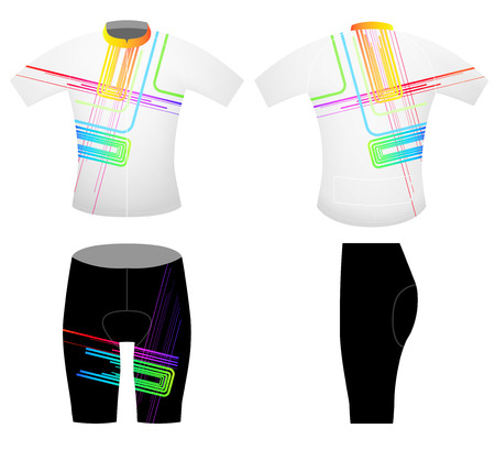 bicycling: Abstract colors lines sports t-shirt,cycling vest on a white background