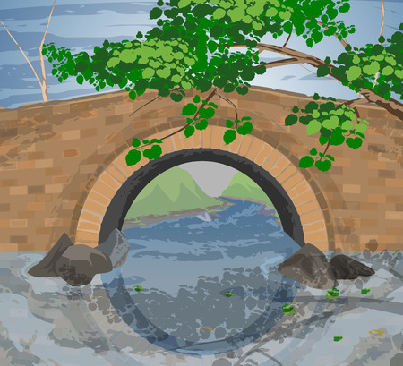 brook: Tree and arch bridges scene river background