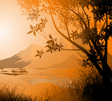 creek: Tree silhouette with mountain sunset sky nature background Illustration