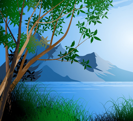 brook: Tree and river,mountain sky nature landscape background Illustration
