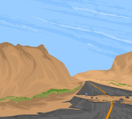 rural road: Broken road vector,rural scenery nature landscape background