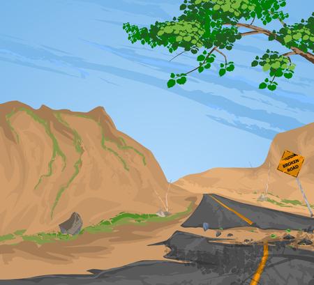 rural road: Traffic sign broken road vector,rural scenery nature landscape background Illustration