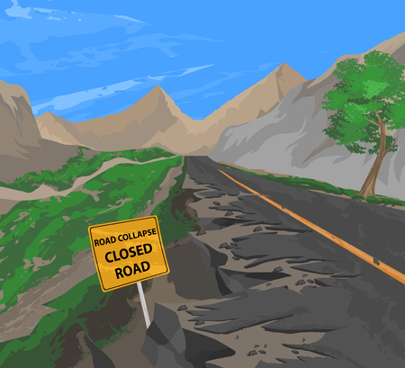collapse: Road collapse vector,transportation nature background Illustration