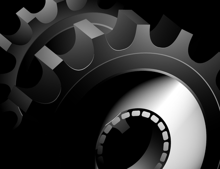 gearing: Glossy gears in dark scenery abstract background Illustration
