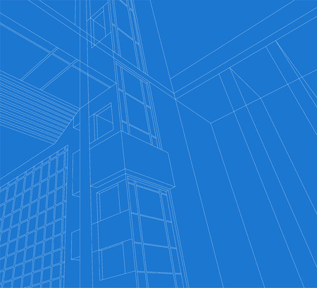 architecture detail: Architecture detail,building exterior wireframe on a blue background