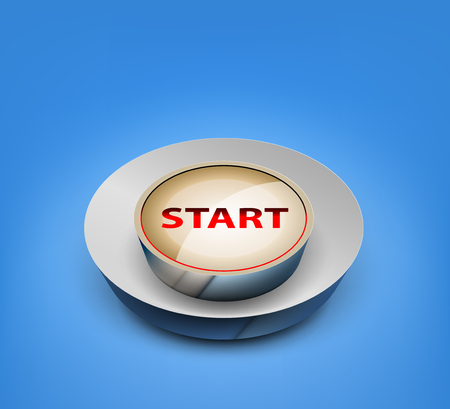 start button: 3D start button vector concepts on a blue background