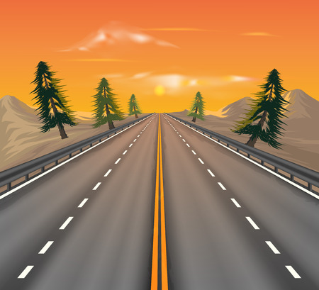 country side: Sunset on the road transportation vector nature landscape background