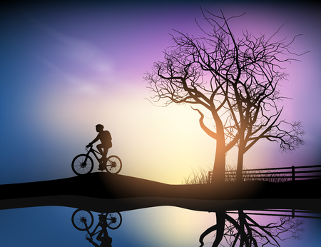 afterglow: Cycling in the park nature landscape background