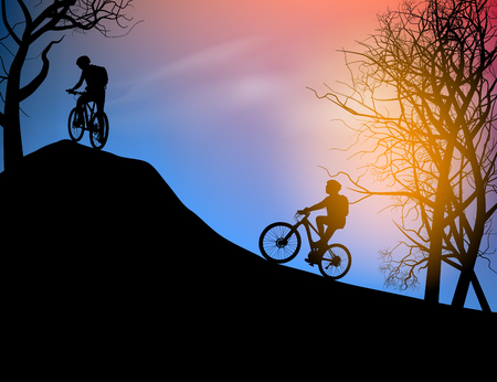 afterglow: Cyclist scene nature landscape background