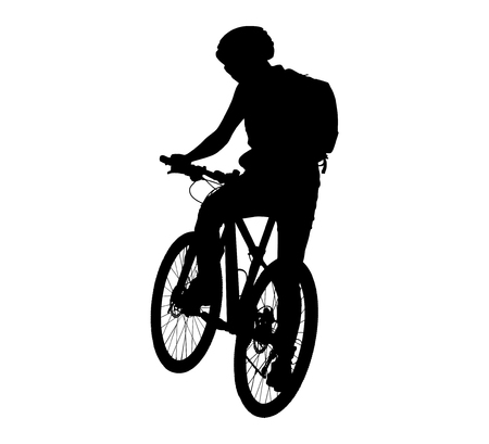 cyclist silhouette: Cyclist silhouette scene sports on a white background
