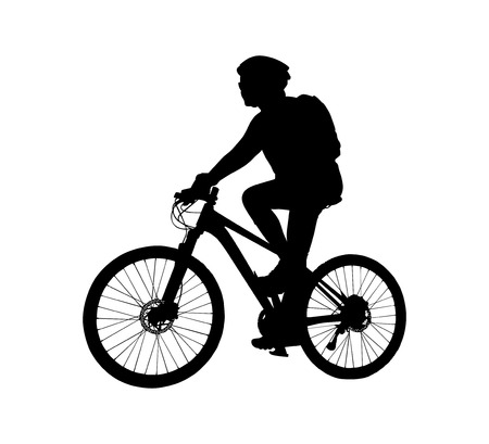 cyclist silhouette: Cyclist silhouette scene on a white background Illustration