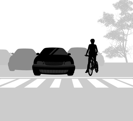 cross road: Cross road with cyclist scene city street background Illustration