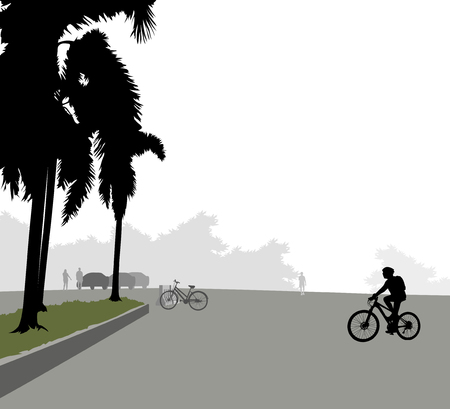 car park: Car park and people exercise with cyclist woman landscape background Illustration