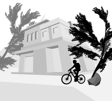 resident: House outside with cyclist woman silhouette background