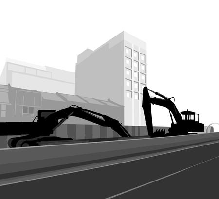 backhoe loader: City construction backhoe loader silhouette industrial background