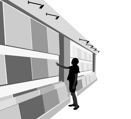 mujer en el supermercado: Mujer joven baldosas de suelo de la selección almacén de gente de la silueta de fondo