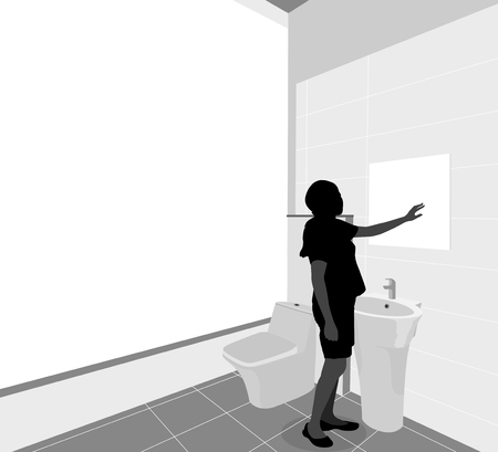 preview: Bathroom preview silhouette people young woman scene background