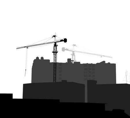 building construction: New building silhouette building construction scene background Illustration
