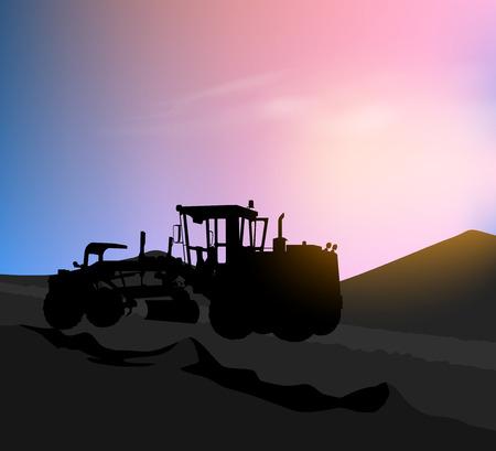 Motor graders silhouette road construction scene background