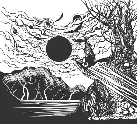 afterglow: Full moon hand drawing vector lined scene background