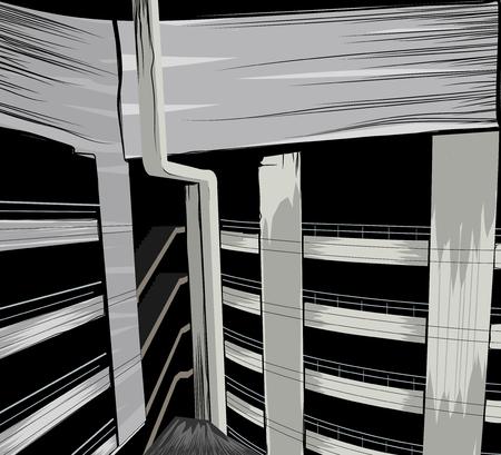 Abandoned building car park scene vector architecture background Illustration