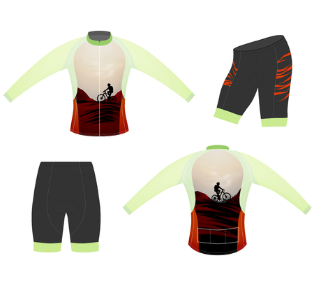 Cycling vest long sleeve style vector on a white background Illustration