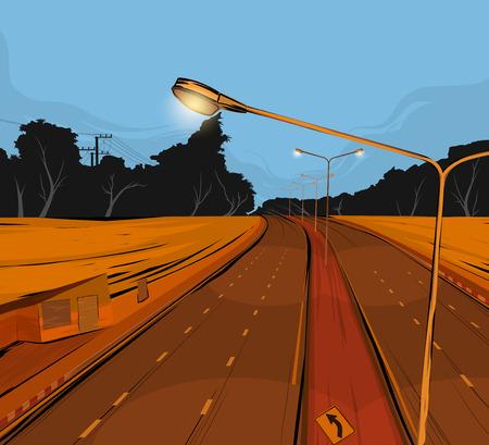 underpass: Road underpass scene vector transportation background Illustration