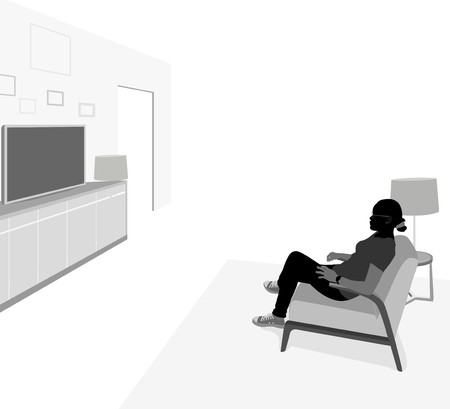 mujer viendo tv: Side view young woman watching TV vector silhouette people scene background