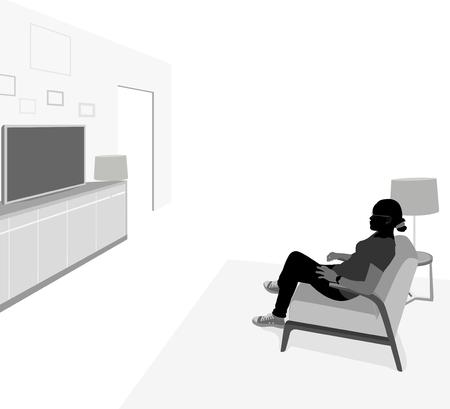 mujer viendo television: Vista lateral de la mujer joven que mira la televisión vector de la gente silueta de fondo de escena