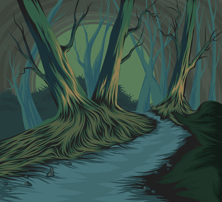 Forest vector hand drawing nature landscape background photo