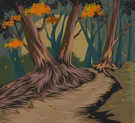 秋のベクトル手図面の自然風景背景