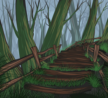 Pathway on hill vector hand drawing nature landscape background Illustration
