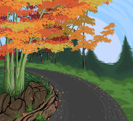 Road to Autumn scene vector hand drawing nature landscape background Stock Vector - 64674618