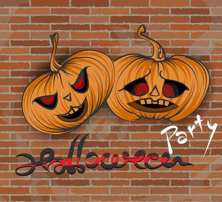 calabaza caricatura: Vector del partido de Halloween de fondo gráfico de la mano