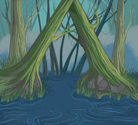 drawing trees: Trees and river scene vector hand drawing nature background Illustration